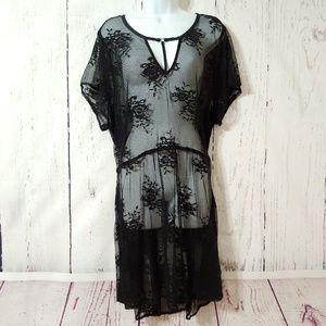 Torrid 3 Black Lace Babydoll Tunic Top